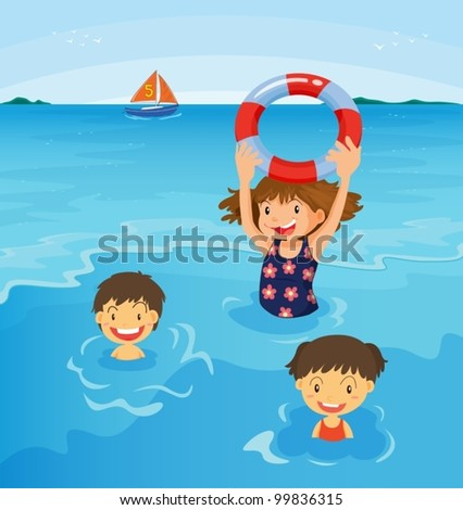 Kids swimming at the beach illustration