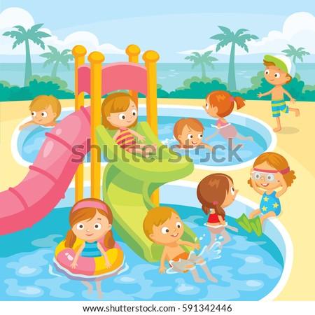Kids swimming in aqua park