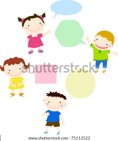Kids talking and thinking with speech bubbles