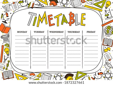 Kids Template of a school schedule for 5 days of the week for students. Vector illustration in cartoon styles. Includes hand-drawn elements on a school theme.