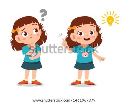 kids thinking idea vector illustration