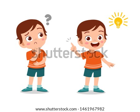 kids thinking idea vector illustration