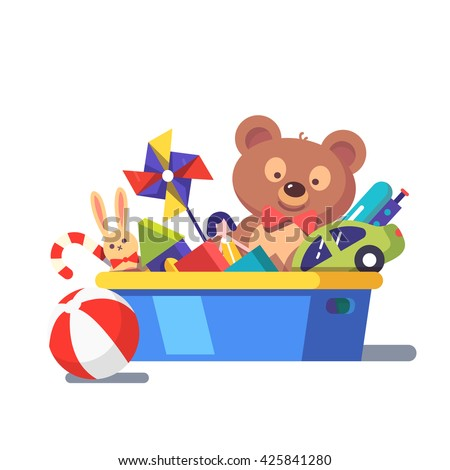 Kids toy box full of toys. Modern flat style vector illustration cartoon clipart.