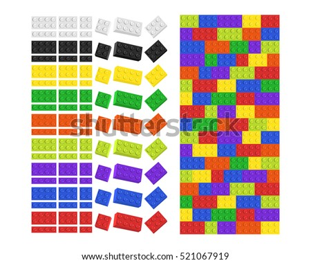 Kids toy building construction lego blocks in various colours and sizes isolated on white background with tiled matching pattern