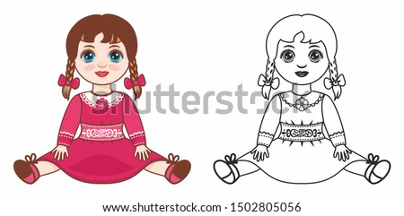 Kids toy dolls. Vintage doll for girls. Baby girl doll. Children's toy. Design elements set. Child doll, child toy. Vector doll cartoon Stock photo ©