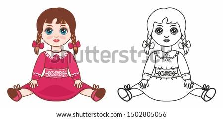 Kids toy dolls. Vintage doll for girls. Baby girl doll. Children's toy. Design elements set. Child doll, child toy. Vector doll cartoon