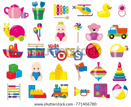 Kids toys. A set of children's toys for the youngest. Vector illustration. ストックフォト ©