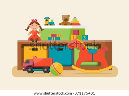 kids toys in boxes playroom