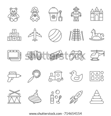 Kids toys linear icons set. Educational games. Children's entertainment. Thin line contour symbols. Isolated vector outline illustrations. Editable stroke