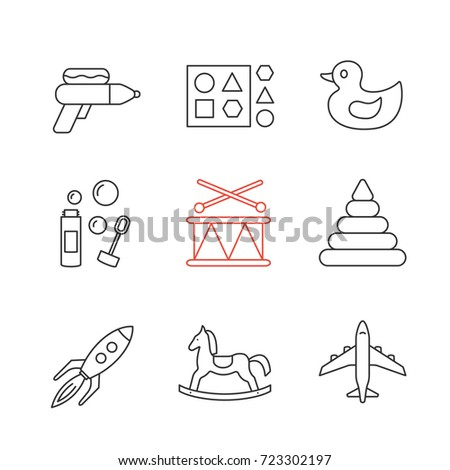 kids toys linear icons set
