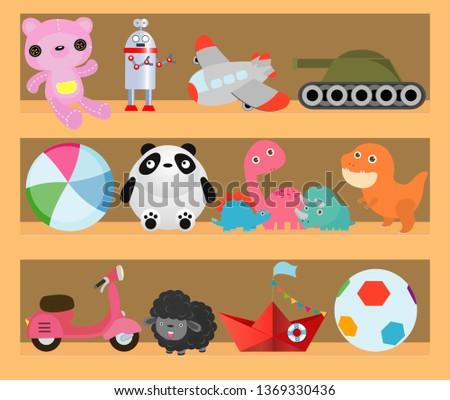Kids toys on wood shop shelves, Cartoon toy on baby shopping wooden shelf. Dinosaur, robot, ca,r doll, boat isolated vector illustration Stock fotó ©