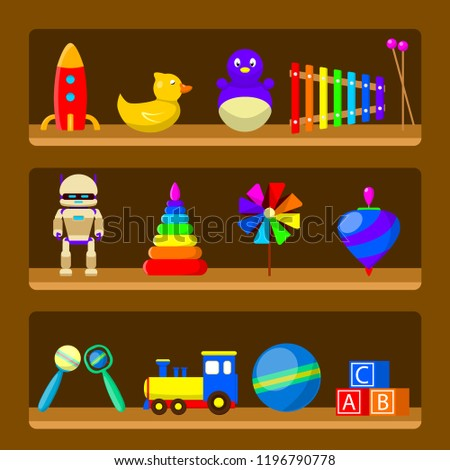 Kids toys on wood shop shelves isolated on background. Set of vintage rubber toy beanbag, baby rattle, robot, rocket, ball, truck, whirligig, pinwheel. Childhood concept. Vector cartoon design