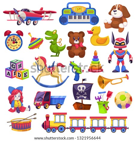 Kids toys set. Toy kid child preschool house baby game ball train yacht horse doll duck boat plane bear car pyramid flat vector collection