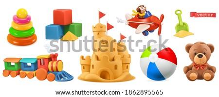 Kids toys. Train, plane, castle, ball, cubes, bear. 3d vector icon set