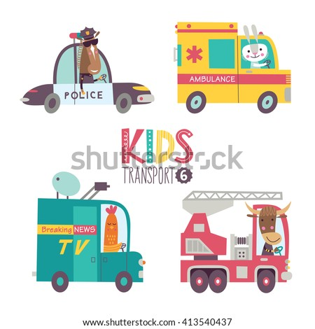 kids transport collection with