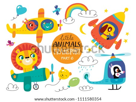 Kids transport set with cute little animals. Part 6. Vector illustration on a white background.  Helicopter, airplane, plane, spacecraft.
