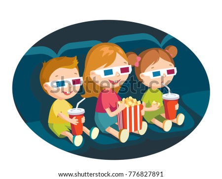 Kids watching movie