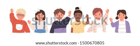 Kids waving hands flat vector illustrations set. Smiling little children in casual clothing greeting gesture. Cheerful elementary school students, kindergarten pupils cartoon characters hi.