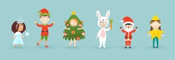 Kids wearing Christmas costumes. Funny and cute carnival kids set. Vector illustration.
