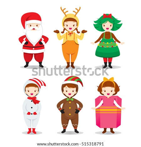 Stock Photo Kids Wearing Christmas Costumes Set, Xmas, Happy New Year, Clothing, Animals, Festive, Celebrations