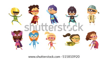 kids wearing colorful costumes
