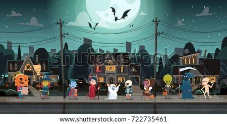 kids wearing monsters costumes