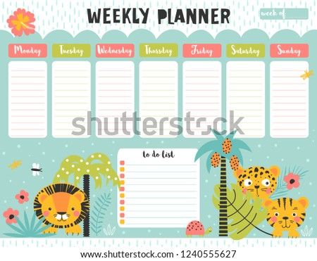 Kids weekly planner and to do list with cute wild animals in the jungle. A timetable for elementary school. Vector illustration.
