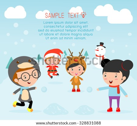 Stock Photo Kids With Christmas Costumes, kids in Christmas costume characters celebrate, Cute little christmas Children's collection, happy new year, christmas and children background, happy new year.