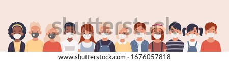 Kids with protection mask flat vector illustrations set. Group of children wearing medical masks to prevent disease, flu, air pollution, contaminated air, world pollution