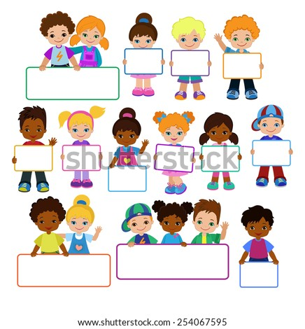 Kids with Signs Bricht Kids Frame Board Clipart Child meeting frame white board