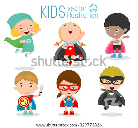 Superhero kid vectors download free vector art stock graphics kids with superhero costumes set kids in superhero costume characters isolated on white background voltagebd Image collections