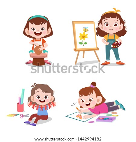 kids with their hobbies vector illustration