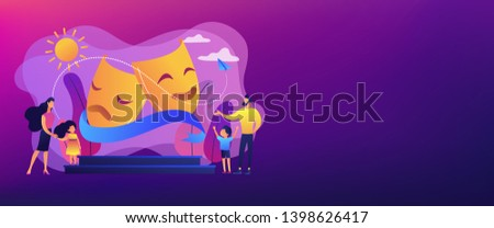 Kids with tutors enjoy acting on theater stage outside, tiny people. Theater camp, summer acting program, young actor courses concept. Header or footer banner template with copy space.