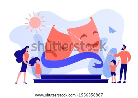 Kids with tutors enjoy acting on theater stage outside, tiny people. Theater camp, summer acting program, young actor courses concept. Pinkish coral bluevector isolated illustration