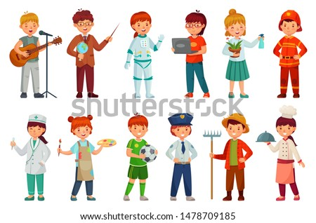 Kids workers. Child professional uniform, policeman kid and baby job professions. Children character teacher, doctor and astronaut job professional play. Cartoon isolated vector icons set