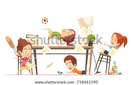 Kids Yoga Design Concept With Group Of Funny Cute Children Playing In Games Room Flat Vector