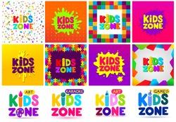 Kids Zone banner design big set. Children Playground. Colorful logos. Vector illustration. Isolated on white background.