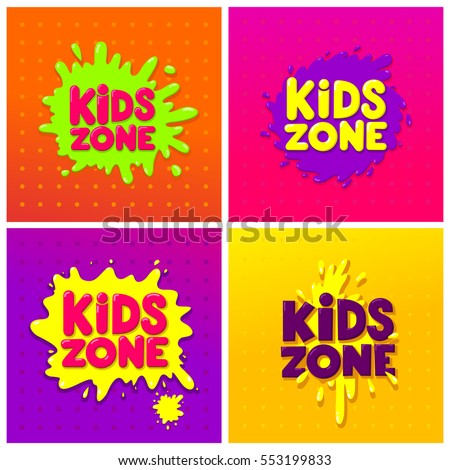 Kids Zone banner design set. Children Playground. Colorful logos. Vector illustration.