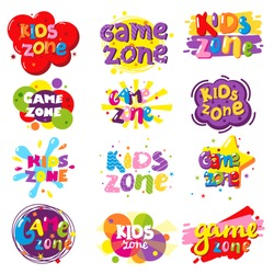 Kids zone entertainment banner set, vector illustration isolated on white background. Children playground, game room or center logo.
