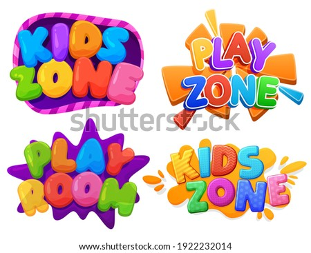 Kids zone, Play zone, Play room sign. Color inscription logo, game area, bubble rainbow letters. Bright, vector inscription on a white background Foto stock ©