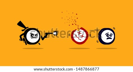 Killer app killing other mobile apps by shooting them with gun. Vector concept artwork depicts new technology that is superior and better over competitors and rivals software product.
