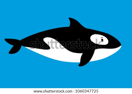 Killer Whale Sea Animal Cartoon Icon On Blue Background Vector Illustration