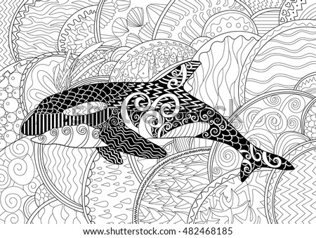 killer whale with high details adult antistress coloring page with orca black white hand - Coloring Pages Whales Dolphins