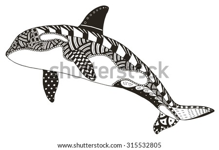 killer whale zentangle stylized