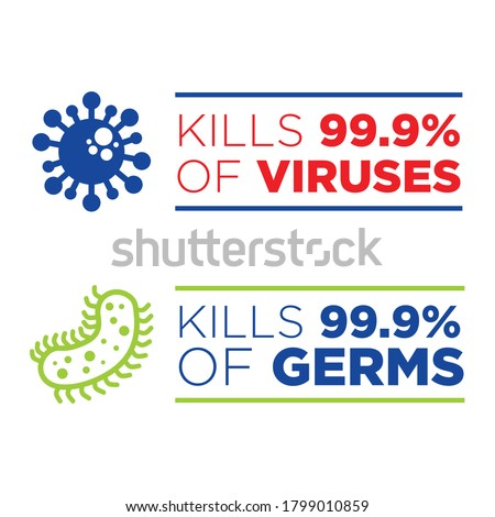 Kills 99.9% of Germs and Viruses Seal, Icon Template Vector file Сток-фото ©