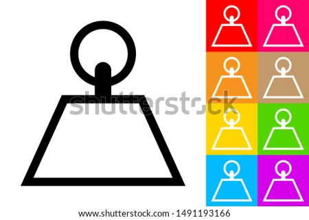 Kilogram Kettlebell. Line Icon With Different Color Background.