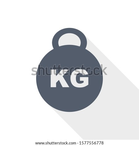 kilogram vector icon, kilo, kg, weight concept flat design illustration in eps 10 with empty copy space
