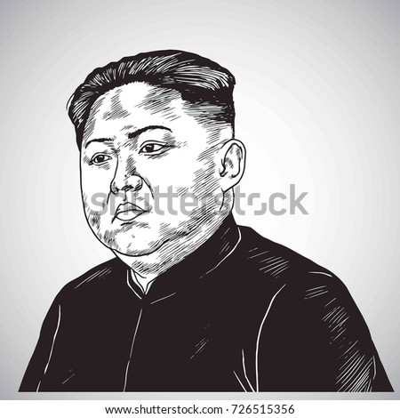 kim jong un portrait hand drawn