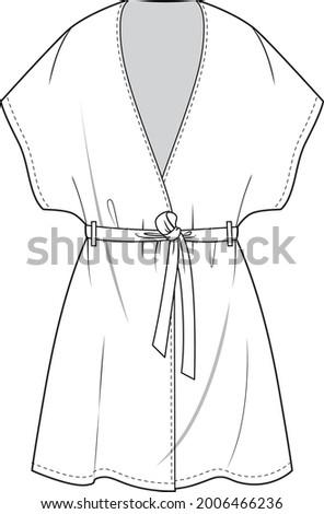 kimono robe technical fashion illustration. flat apparel self belt kimono blouse template front, white color. Stock foto ©
