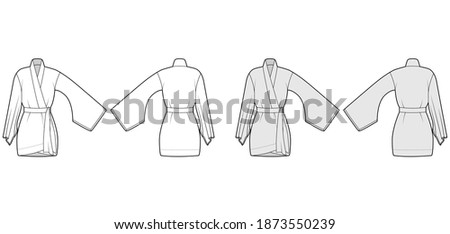 Kimono robe technical fashion illustration with long wide sleeves, belt to cinch the waist, above-the-knee length. Flat blouse template front, back white grey color. Women men unisex CAD shirt mockup Stock fotó ©